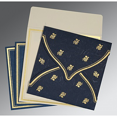 Blue Handmade Silk Unique Themed - Screen Printed Wedding Card : S-8203B - 123WeddingCards