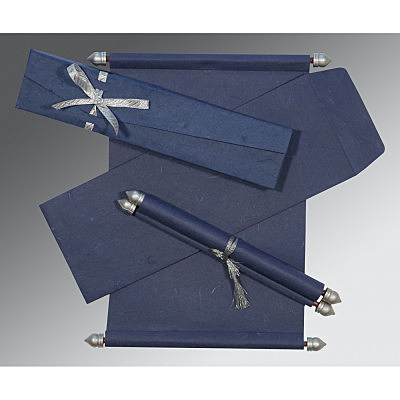 Blue Handmade Silk Wedding Card : SC-5001A - 123WeddingCards