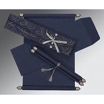 Blue Handmade Silk Wedding Card : SC-5002D - 123WeddingCards