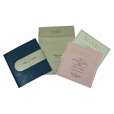 Blue Matte Box Themed - Embossed Wedding Invitation : D-1799 - 123WeddingCards