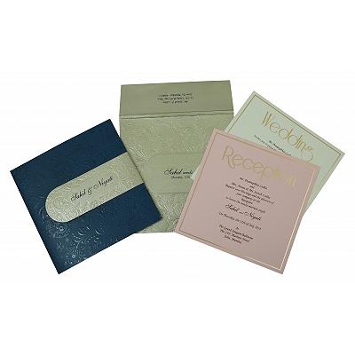 Blue Matte Box Themed - Embossed Wedding Invitation : W-1799 - 123WeddingCards