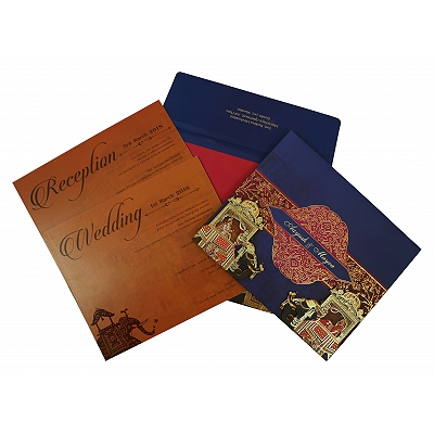 Blue Matte Box Themed - Foil Stamped Wedding Invitation : W-1830 - 123WeddingCards