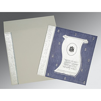 Blue Matte Embossed Wedding Card : IN-2109 - 123WeddingCards