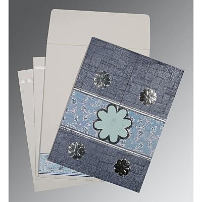 Blue Matte Floral Themed - Embossed Wedding Card : CD-1285 - 123WeddingCards