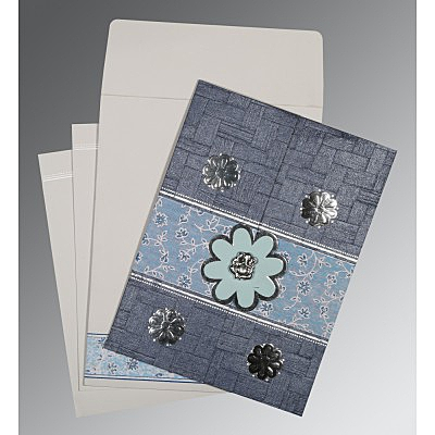 Blue Matte Floral Themed - Embossed Wedding Card : W-1285 - 123WeddingCards