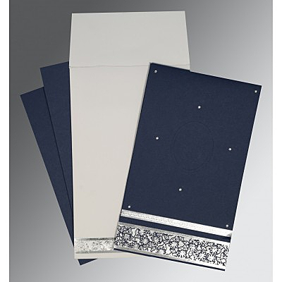 Blue Matte Foil Stamped Wedding Invitation : D-1433 - 123WeddingCards