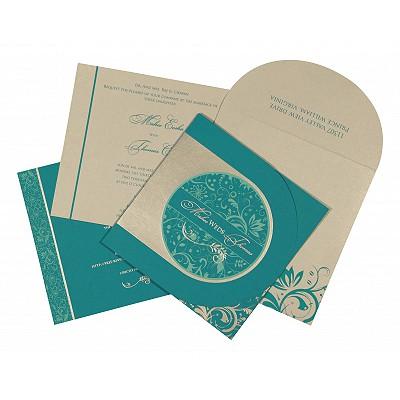 Blue Matte Paisley Themed - Screen Printed Wedding Card : C-8264G - 123WeddingCards