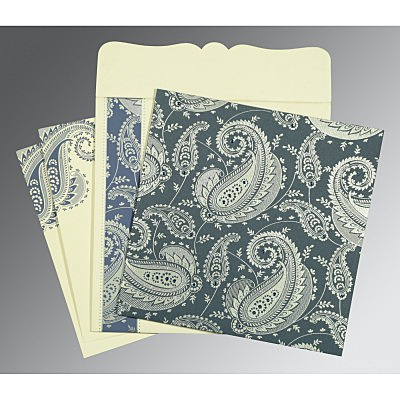 Blue Matte Paisley Themed - Screen Printed Wedding Card : D-8250E - 123WeddingCards