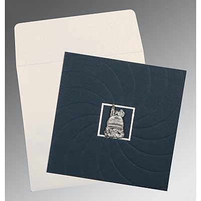 Blue Matte Pocket Themed - Embossed Wedding Card : I-1436 - 123WeddingCards