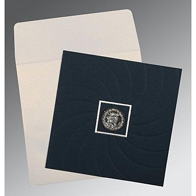 Blue Matte Pocket Themed - Embossed Wedding Card : RU-1436 - 123WeddingCards