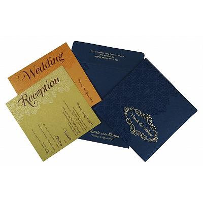Blue Shimmery Box Themed - Foil Stamped Wedding Invitation : C-1796 - 123WeddingCards
