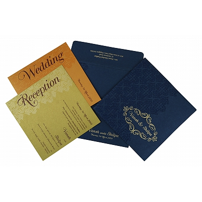 Blue Shimmery Box Themed - Foil Stamped Wedding Invitation : IN-1796 - 123WeddingCards
