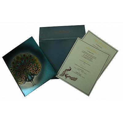 Blue Shimmery Box Themed - Offset Printed Wedding Invitation : G-1834 - 123WeddingCards