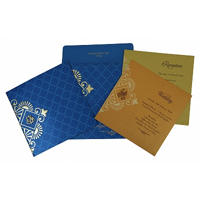 Blue Shimmery Box Themed - Screen Printed Wedding Invitation : RU-1795 - 123WeddingCards