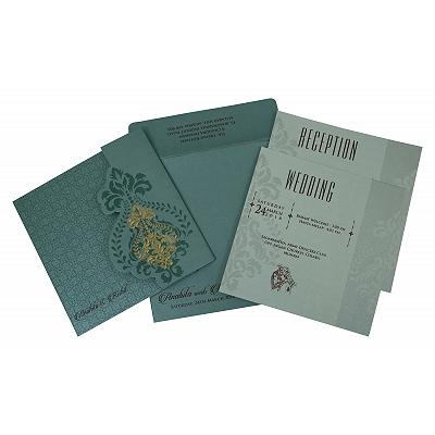 Blue Shimmery Box Themed - Screen Printed Wedding Invitation : RU-1797 - 123WeddingCards