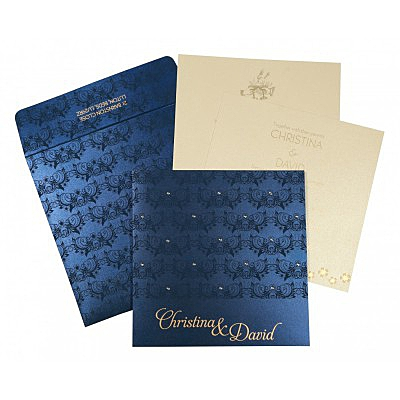 Blue Shimmery Butterfly Themed - Screen Printed Wedding Card : CC-8258A - 123WeddingCards