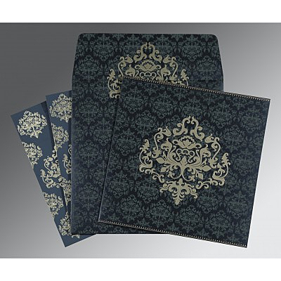 Blue Shimmery Damask Themed - Screen Printed Wedding Card : D-8254C - 123WeddingCards