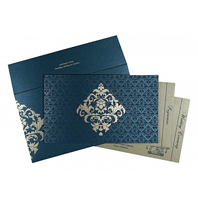 Blue Shimmery Damask Themed - Screen Printed Wedding Card : I-8257G - 123WeddingCards