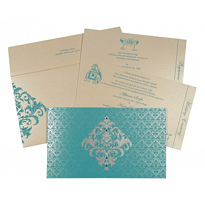 Blue Shimmery Damask Themed - Screen Printed Wedding Card : IN-8257E - 123WeddingCards