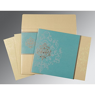 Blue Shimmery Damask Themed - Screen Printed Wedding Card : RU-8253E - 123WeddingCards