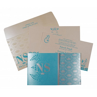 Blue Shimmery Damask Themed - Screen Printed Wedding Invitations : RU-8261E - 123WeddingCards
