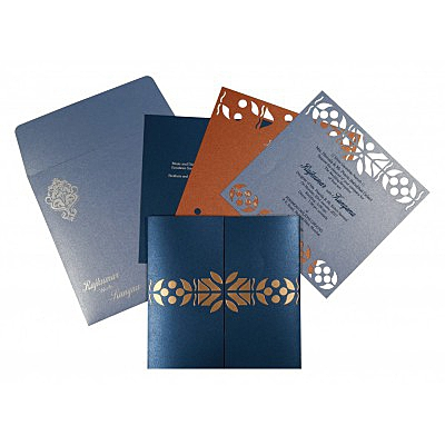 Blue Shimmery Embossed Wedding Invitations : G-8260D - 123WeddingCards