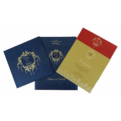 Blue Shimmery Floral Themed - Foil Stamped Wedding Invitation : C-1777 - 123WeddingCards