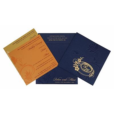 Blue Shimmery Floral Themed - Foil Stamped Wedding Invitation : I-1774 - 123WeddingCards