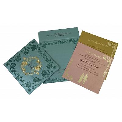 Blue Shimmery Floral Themed - Foil Stamped Wedding Invitation : I-1794 - 123WeddingCards