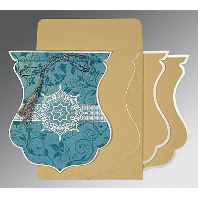 Blue Shimmery Floral Themed - Screen Printed Wedding Card : I-8229M - 123WeddingCards