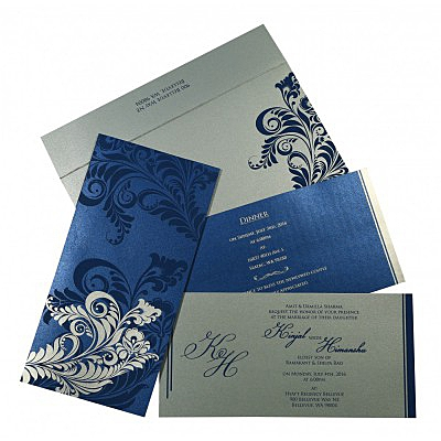 Blue Shimmery Floral Themed - Screen Printed Wedding Card : W-8259E - 123WeddingCards