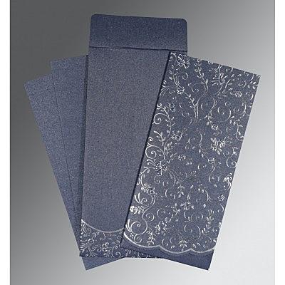 Blue Shimmery Foil Stamped Wedding Invitation : D-1392 - 123WeddingCards
