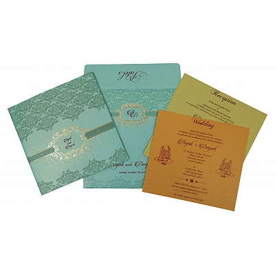 Blue Shimmery Foil Stamped Wedding Invitation : W-1781 - 123WeddingCards