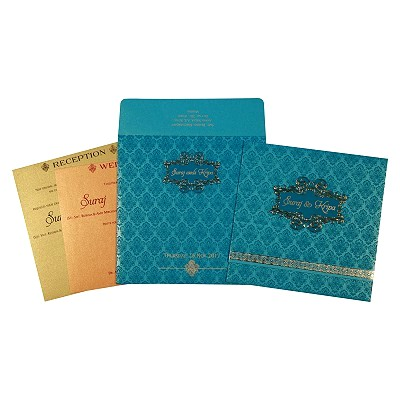 Blue Shimmery Paisley Themed - Foil Stamped Wedding Invitation : D-1729 - 123WeddingCards