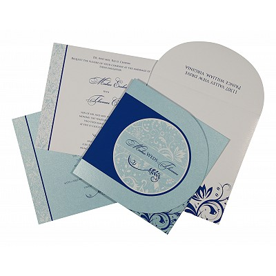 Blue Shimmery Paisley Themed - Screen Printed Wedding Card : D-8264H - 123WeddingCards