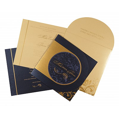 Blue Shimmery Paisley Themed - Screen Printed Wedding Card : RU-8264F - 123WeddingCards