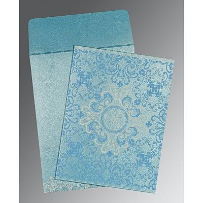 Blue Shimmery Screen Printed Wedding Card : I-8244F - 123WeddingCards