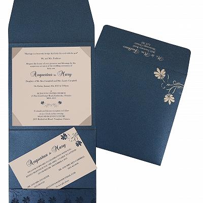 Blue Shimmery Screen Printed Wedding Invitation : RU-803D - 123WeddingCards