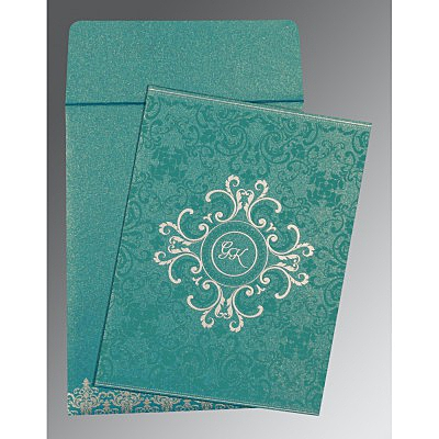 Blue Shimmery Screen Printed Wedding Card : RU-8244C - 123WeddingCards