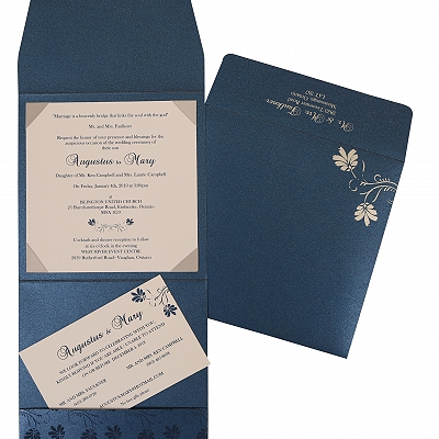 Blue Shimmery Screen Printed Wedding Invitation : W-803D - 123WeddingCards