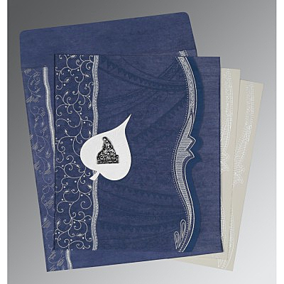 Blue Wooly Embossed Wedding Card : G-8210H - 123WeddingCards