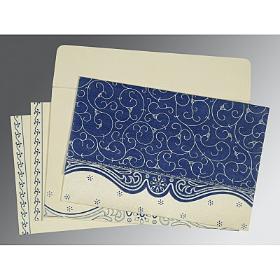 Blue Wooly Embossed Wedding Invitations : G-8221C - 123WeddingCards