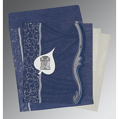 Blue Wooly Embossed Wedding Card : SO-8210H - 123WeddingCards