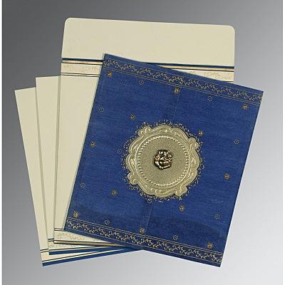 Blue Wooly Embossed Wedding Invitations : W-8202I - 123WeddingCards
