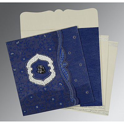 Blue Wooly Floral Themed - Embossed Wedding Card : C-8209J - 123WeddingCards