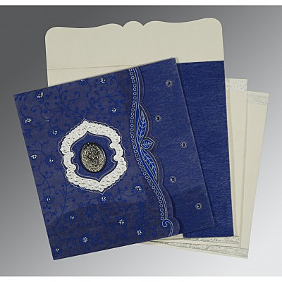 Blue Wooly Floral Themed - Embossed Wedding Card : I-8209J - 123WeddingCards