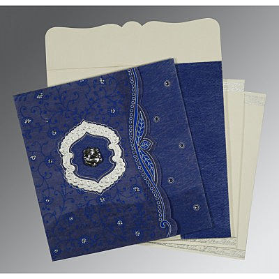 Blue Wooly Floral Themed - Embossed Wedding Card : IN-8209J - 123WeddingCards