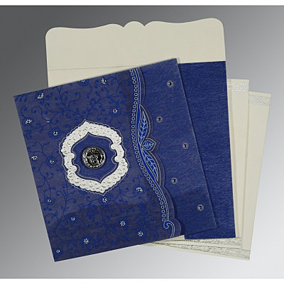 Blue Wooly Floral Themed - Embossed Wedding Card : S-8209J - 123WeddingCards