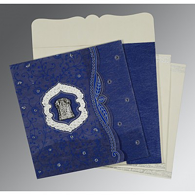 Blue Wooly Floral Themed - Embossed Wedding Card : SO-8209J - 123WeddingCards
