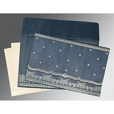 Blue Wooly Foil Stamped Wedding Invitation : G-8241P - 123WeddingCards